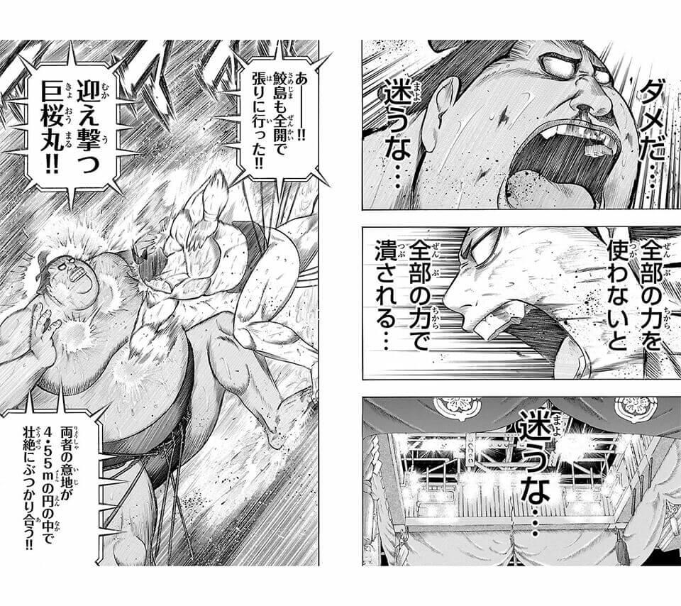 巨漢力士にも臆さない小兵:鮫島の真っ向勝負