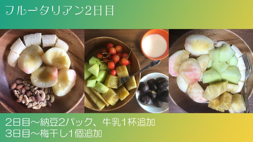 フルータリアン生活2日目の3食の写真。