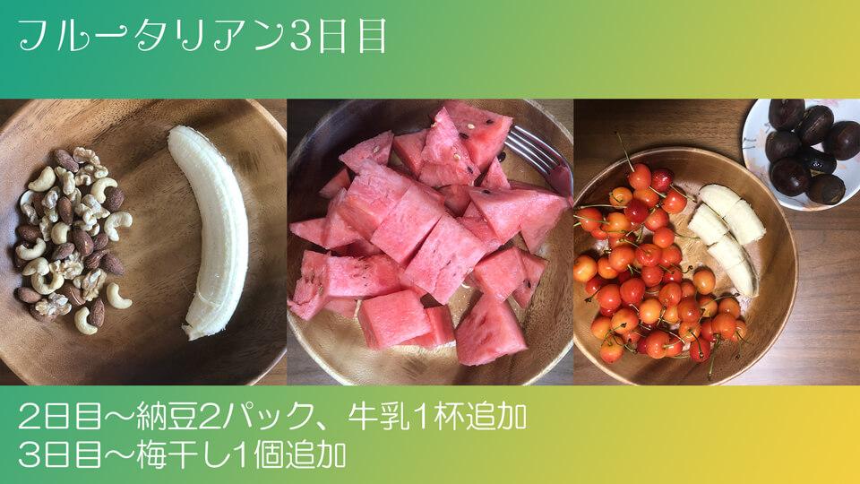 フルータリアン生活3日目の3食の写真。