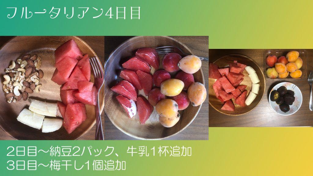 フルータリアン生活4日目の3食の写真。
