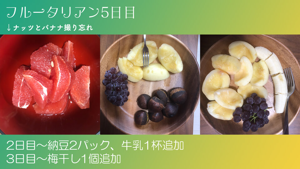 フルータリアン生活5日目の3食の写真。