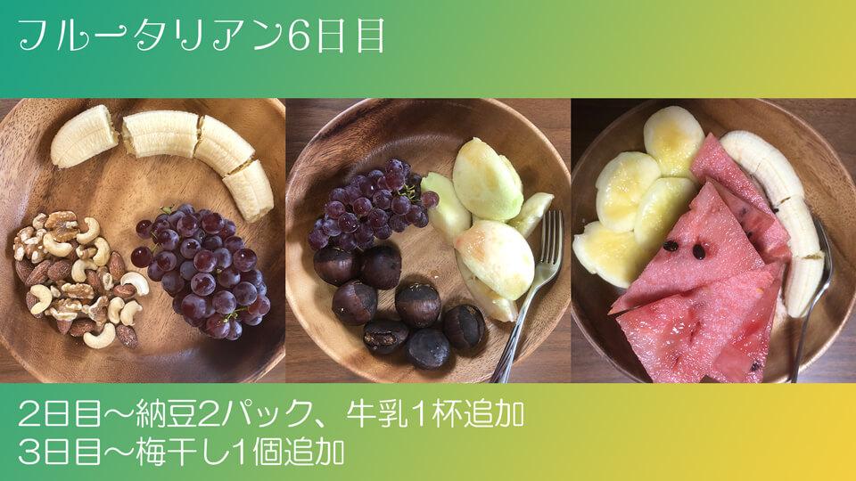 フルータリアン生活6日目の3食の写真。
