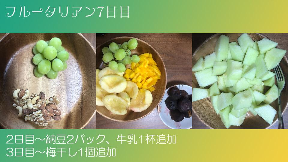 フルータリアン生活7日目の3食の写真。
